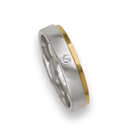 Ring / gold wedding ring 18k two-tone white satin and rose polished one diamond model la043614dw
