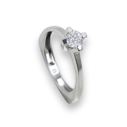 Solitaire ring in white Gold - diamond 0.32 ct - model Gabriele