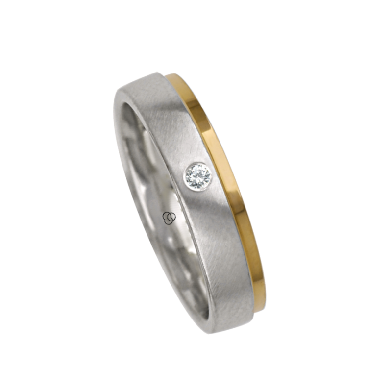 Ring / gold wedding ring 18k two-tone white satin and rose polished model la043614ew