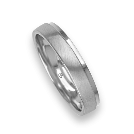 Ring / gold wedding ring 18k white satin and white polished model lb043614ew