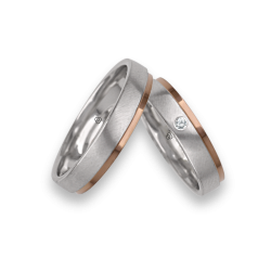Wedding Bands in white and rose gold, satin and polished finish, one diamont model id043614