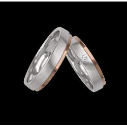 Fedi nuziali in oro bianco e rosa, superfice satinata e lucida un diamante modello id043614