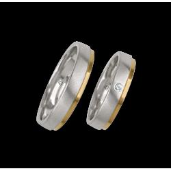 Fedi nuziali in oro bianco e giallo, satinato e lucido, un diamante modello la043614