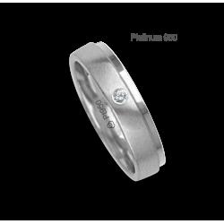Anello / fede nuziale platino 950 bianco satinato e bianco lucido un diamante modello Pt_lb043614dw
