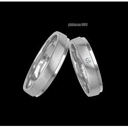 Fedi nuziali in platino 950 satinate e lucide con un diamante modello Pt_lb043614