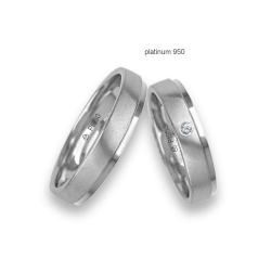 Wedding rings in 950 platinum with a satin and polished with a diamond pattern Pt_lb043614