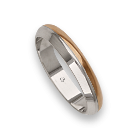 Ring / wedding ring in gold 18k two-tone white and rose model ad044714ew