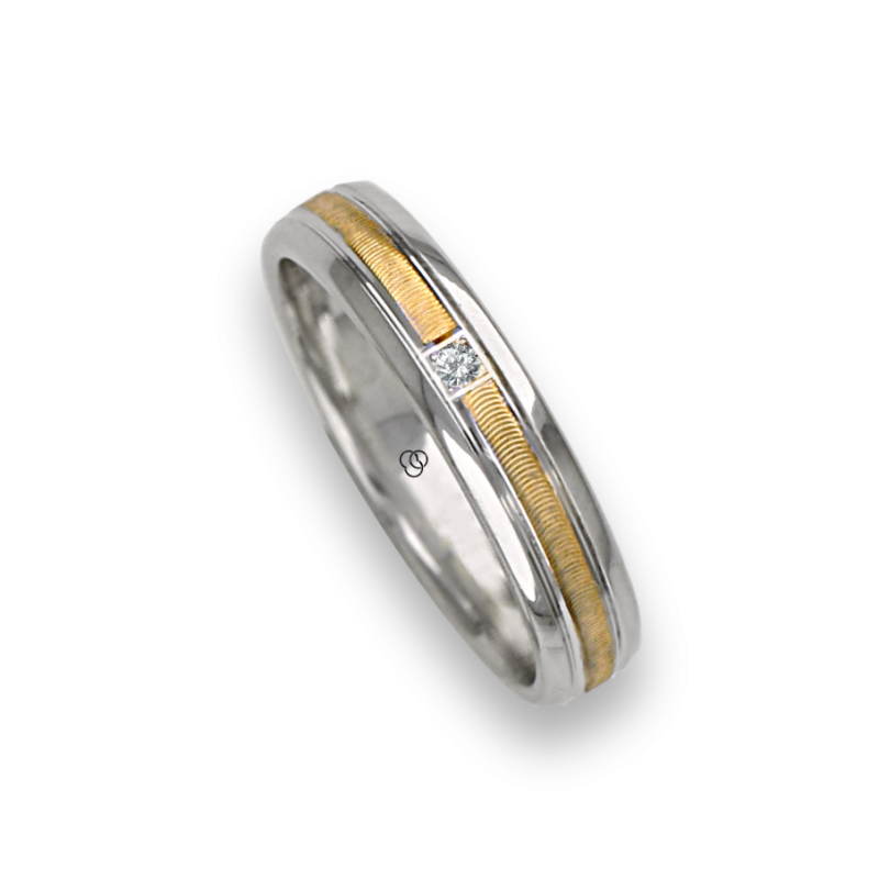 Ring / wedding ring in gold 18k two-tone white and yellow one diamond model wl045324dw
