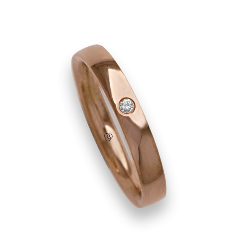 Woman ring for wedding in rose gold 18k polished finish one diamond model aq334124dw