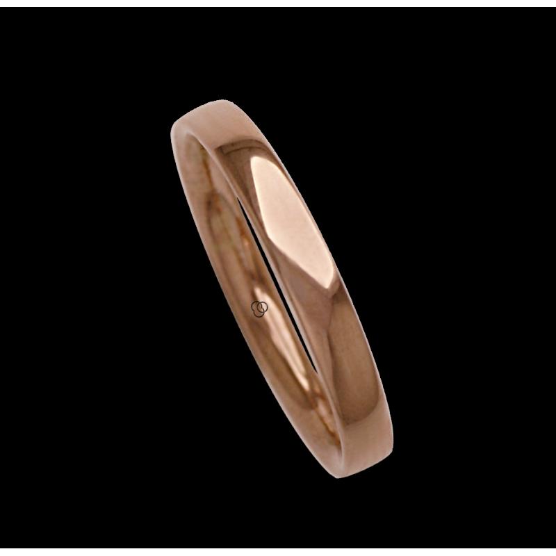 Man ring for wedding in rose gold 18k polished finish model aq334124ew