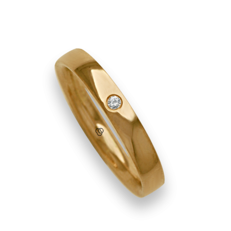 Woman ring for wedding in yellow gold 18k polished finish one diamond model ag334124dw