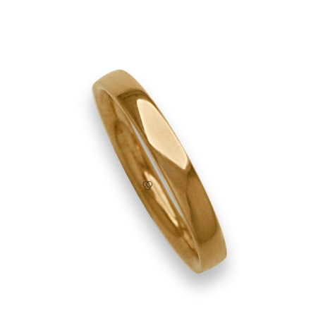 Man ring for wedding in yellow gold 18k polished finish model ag334124ew