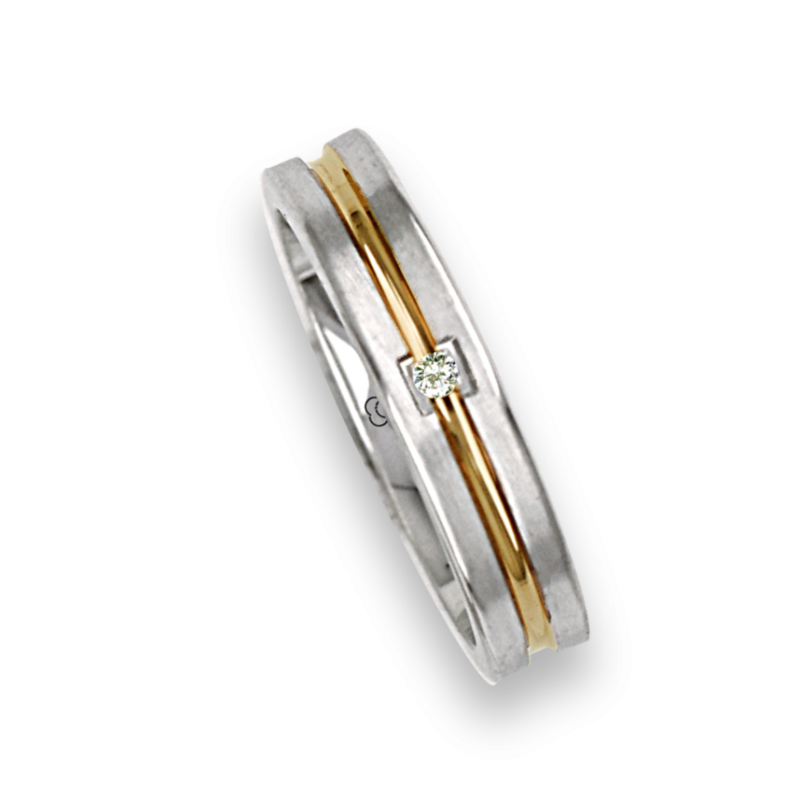 Ring / wedding ring in gold 18k two-tone white and yellow one diamond model BL242524DW