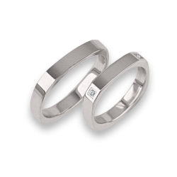 Wedding rings in 18k white gold square form with four diamonds model ab537324