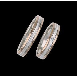 Fedi nuziali oro rosa e bianco con un diamante modello wo045324