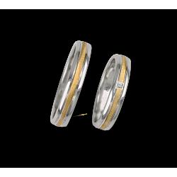 Fedi nuziali in oro bianco e giallo con un diamante modello wl045324