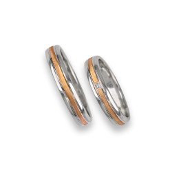 Wedding bands in white and yellow gold with diamond model wp045324
