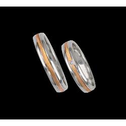 Fedi nuziali in oro bianco e rosa con un diamante modello wp045324