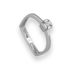 Solitaire ring in white Gold - diamond 0.16 - model Gervasio