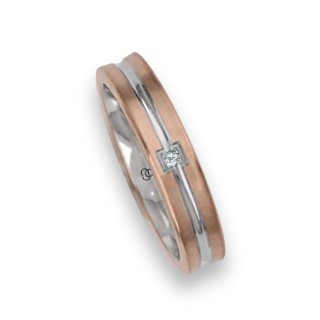 Ring / wedding ring in gold 18k two-tone rose and white one diamond model bo242524dw