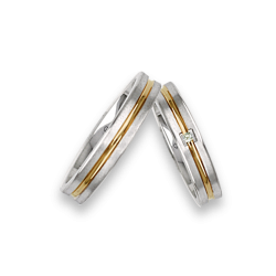 Gold wedding rings two-tone yellow and white with one diamond model bl242524