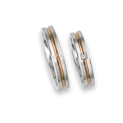 Gold wedding rings 18k white and rose, satin at the sides with one diamond model bp242524
