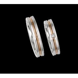 Обручальные кольца 18ktt белого золота и розового атласа по бокам с бриллиантом модель bp242524