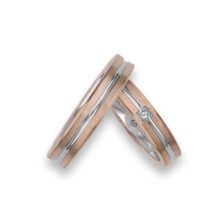 Fedi nuziali bicolore oro 18kt rosa e bianco un diamante modello bo242524